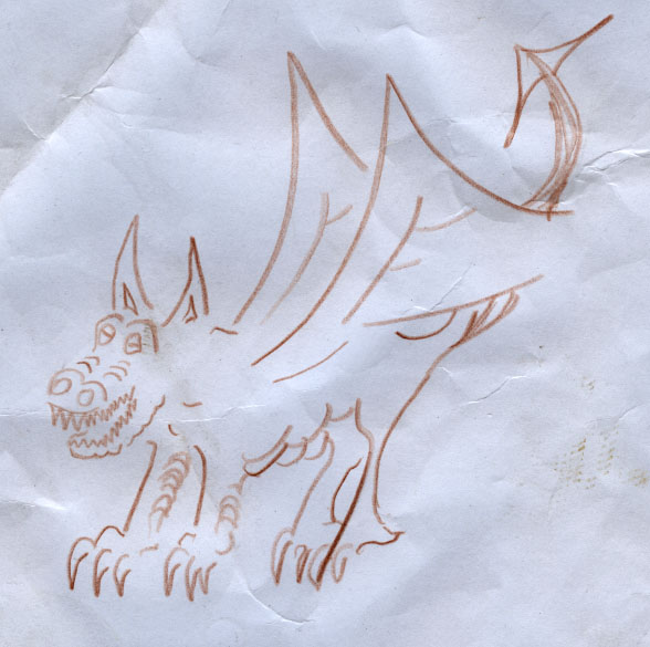 Brown Pencil Crumply Dragon